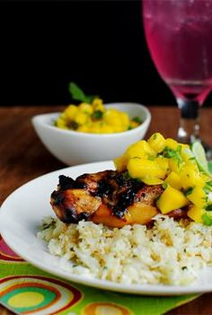 Key West Grilled Chicken with Cilantro-Lime Cauliflower Rice is light, healthy, and full of fresh flavors