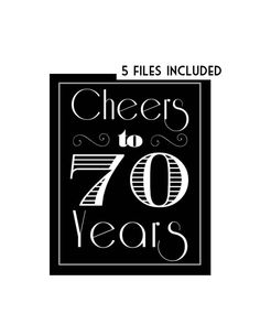 Cheers to 70 Years 70th Birthday 70th Birthday by MSPrintables