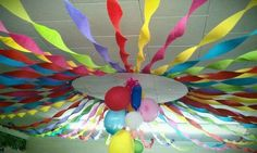 Esther Room VBS - this is just a hula hoop and crepe paper. This would be so fun in the safe room for opening and closing, hang theme oriented decor in the center
