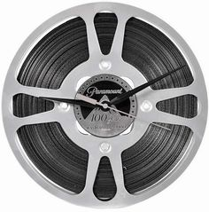 """Paramount Pictures 10 1/2"""" 16mm  Film Reel Wall Clock features a laser etched 100 years logo in the center and a custom  film edge - Goldberg 