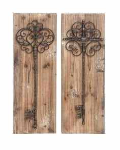 Aged Wood Vintage Door Wall Panel Set with Rustic Decorative Keys will looks great both inside and outside. An assorted set of 2 wall plaques, these are mounted with a unique cast iron alloy key that decorate enchanting charm. The plaque is made with aged beach wood for the ultimate rustic look, adding a beautiful quality anywhere you hang it. Ideally hung in the backyard garden or patio, but this set is also great along the hallway or along the staircase.
