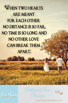 When two hearts are meant for each other No distance is so far, No time is so long and No other love can break them apart. Good Morning Everyone, Two Hearts, Love Can, Distance, Positive Quotes, Me Quotes, Meant To Be, Marriage, Positivity