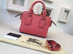 Burberry Small Signature Grain Leather Tote Bag In Rose Pink