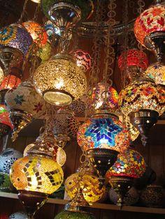 Turkish lamps in the Grand Bazaar Turkish Lamps, Grand Bazaar, Lovely Things, Istanbul, Lanterns, Arizona, Christmas Bulbs, Mosaic, Decorating Ideas