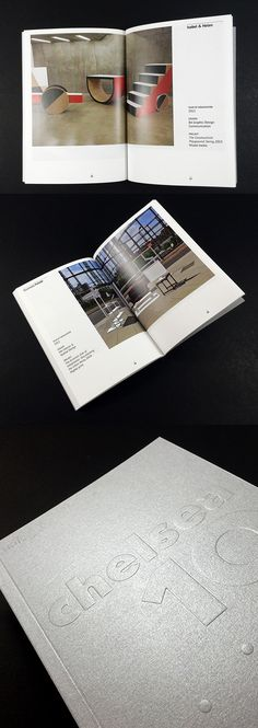Degree Show catalogue layout ideas. Bold typography on the cover embossed to keep the eye. Clean cut and simple page grids which large images spanning the double page spread.