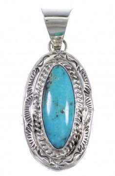 Navajo Indian Sterling Silver And Turquoise Pendant WX81423 $89.99
