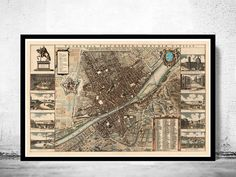 Old Map of Florence Firenze 1685 Antique Vintage Italy
