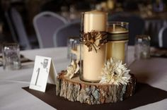 need suggestions please! :  wedding camo centerpieces colors decor diy flowers hunting outdoors rustic Tree Trunk 1