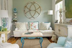 Love the painted table legs, add even more excitement with patterned lamp shades?