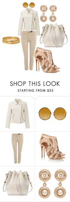 """Classy Cream Dream"" by unusualengagementringsreview ❤ liked on Polyvore featuring BB Dakota, Matthew Williamson, AG Adriano Goldschmied, Casadei, Sophie Hulme, Chanel and Bold Elements"