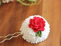 真っ赤なバラのかんざし 浴衣・着物・ドレス