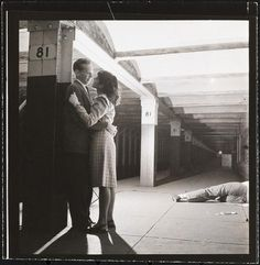 "adanvc: "" Life and Love on the New York City Subway (Couple on the 81st Street subway platform by a sleeping man.), 1946. by Stanley Kubrick """