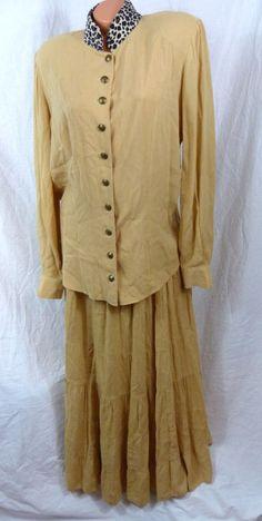 Womens M Medium Long Tiered Lucia Lukken Beige Broomskirts Skirt & Shirt Leopard #LuciaLukken #Tiered