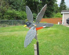 American Robin Whirligig  Yard Ornament  Brightly Colored