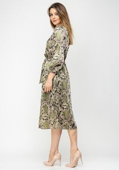 Brand: Style Code: Colour: KHA Sleeves: Long Sleeves Features: Satin fabric, reptile print, wrap over bodice, elasticated waist, Satin Midi Dress, Khaki Dress, Satin Fabric, Bodice, Long Sleeve, Sleeves, Color, Dresses, Style