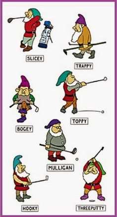 The Seven Golfing Dwarfs! Find your golf greeting cards and accessories at Greetings4golfers.com