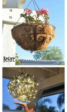 Wire two flower baskets together with a string of lights for an outdoor chandelier.
