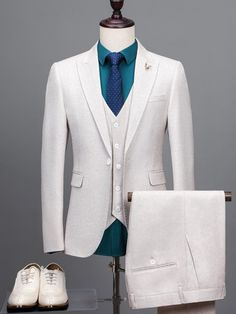 Latest Coat Pant Designs Ivory Tweed Suit Men Formal Skinny Blazer Masculino Prom Simple Marriage Custom Tuxedo 3 Piece Jacket x Mens Casual Suits, Dress Suits For Men, Mens Fashion Suits, Mens Suits, Men Dress, Suit Men, Mens Tweed Suit, Tweed Suits, White Wedding Suits For Men