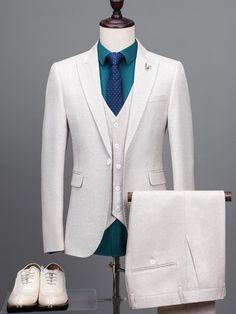 Notched Collar Contrast Trim Plain Men's Dress Suit -m.tbdress.com