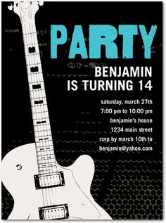 11 best guitar birthday party images on pinterest guitar party birthday party invitations guitar star front black music theme birthday birthday party for filmwisefo