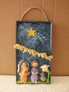 Manger on a slate Woodland Christmas, Christmas Nativity, Christmas Art, Beautiful Christmas, Winter Christmas, Christmas Themes, Christmas Ornaments, Diy And Crafts, Christmas Crafts