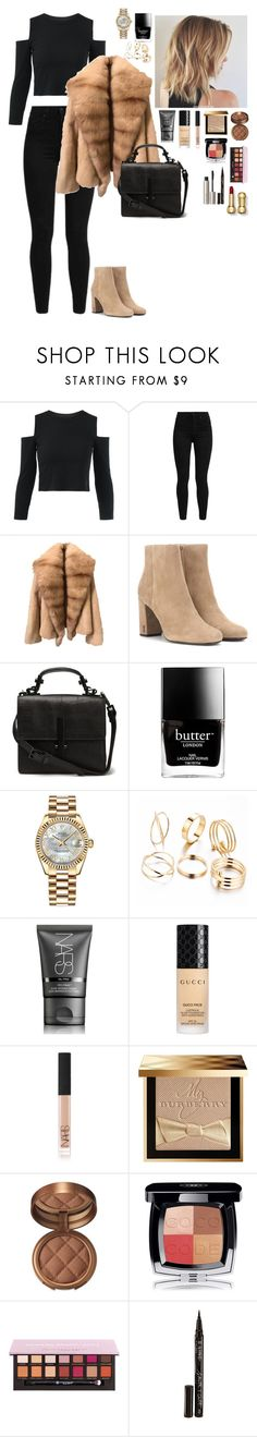 """""""Untitled #2720"""" by madisonfashion ❤ liked on Polyvore featuring Levi's, Yves Saint Laurent, Butter London, Rolex, NARS Cosmetics, Gucci, Burberry, Laura Geller, Chanel and Smith & Cult"""