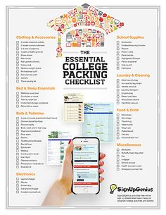 A Printable Essential College Packing List. Don't forget any dorm essentials.