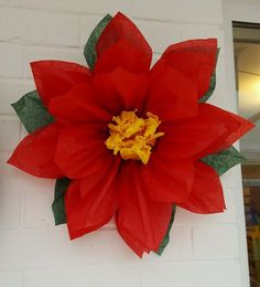1x Large 43cm Poinsettia Red Tissue Paper Flower/pom-pom/Wedding/Party/Christmas