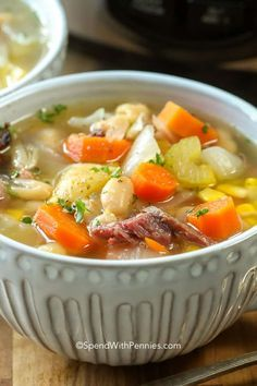 Oct 2019 - Slow cooker ham bone soup is the perfect way to use up your leftover holiday ham. It is slow cooked with delicious veggies for the perfect soup recipe! Ham Bone Soup, Ham Soup, Homemade French Onion Soup, Homemade Soup, Slow Cooker Soup, Slow Cooker Recipes, Cooking Recipes, Ham And Beans, Ham And Bean Soup