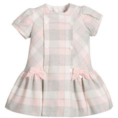 Mayoral Chic Baby Girls Pink Grey Checked Cotton Dress (£33) ❤ liked on Polyvore
