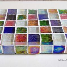 【再販×26】カラフルMix ガラスモザイクタイルのミニディスプレイトレイ(小物置き)