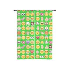 green emoji Curtains ($88) ❤ liked on Polyvore featuring home, home decor, window treatments, curtains, emoji, green draperies, green curtains, green window treatments and green home decor