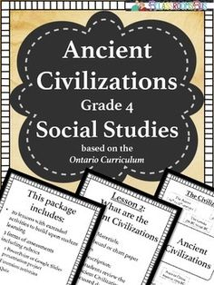 This unit is based on the new 2013 Ontario curriculum for Social StudiesThis Ancient Civilization - Social Studies package includes:-20 lessons with extended activities to build upon student learning-3 forms of assessments including rubrics -1 PowerPoint or Google Slides presentation project-Extension activities -1 QuizOne set of extension activities that can be used cross curricular for Art, Language, Media, and Oral participation.