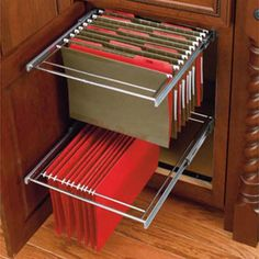 2-Tier File Drawer Systems - I built quite a few large cabinet storage for the garage and one of the storage unit was for my office supplies. I put this on the bottom of the cabinet and it fit perfectly snug with good mounts that keeps it sturdily in place...