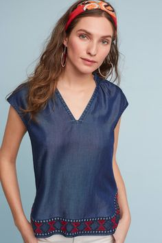 Blouses for Women Chambray Top, Henley Top, Hot Pants, Sewing Clothes, Clothes For Sale, New Outfits, Spring Summer Fashion, Blouses For Women, Casual