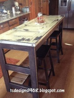 Upcycled old doors - make our own kitchen island or work station in the scrapbook room