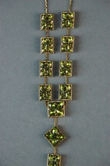 Vintage Moldavite Necklace Tektite Gold Plated Semi Precious $65.00 FREE SHIPPING