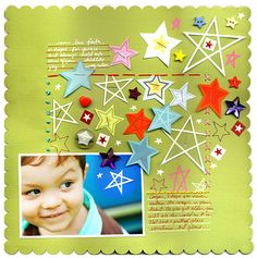 one-pic layout. love the repeating star element. could do this with numbers for a birthday page. use up all the leftover number stickers!