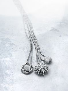 Sterling silver necklaces with diamonds.