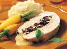 Poitrine de dinde farcie aux noix,canneberge et camembert