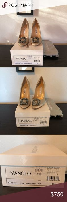 Manolo Blahnik Hangisi champagne satin pumps Absolutely stunning pumps. Only worn once for wedding. Comes with box and 2 dusters. Manolo Blahnik Shoes Heels