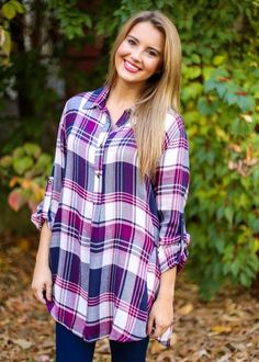 Pink Plaid Top, $40.50, Free Shipping | navy, pink, purple, blue, white, plaids, checker, checkered, gingham, checked, tunic, tunics, shirt, shirts, top, tops, blouse, blouses, button up, button down, buttons, collar, collared, cute, adorable, perfect, soft, comfortable, 2016, fashion, style, blogger, blog, boutique