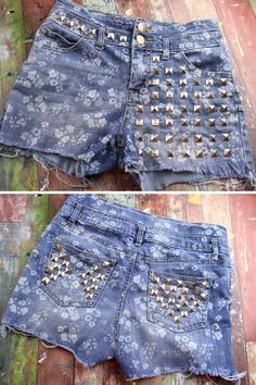 Create a pair of DIY studded shorts to make your own unique fashion statement. Learn how to apply studs to clothing and create your own designs with fabric studs. Studded Shirt, Studded Denim, Diy Ripped Jeans Tutorial, Unique Fashion, Diy Fashion, Product Ideas, Diy Shirt, Unique Outfits, Halloween Costumes For Kids