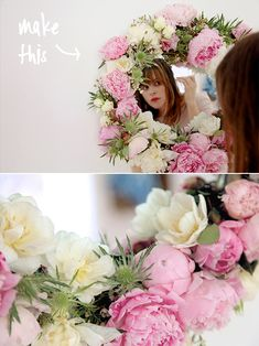 make this // fresh flower mirror diy - from @Brittni Hicks Hicks Mehlhoff with flowers from Flower Muse