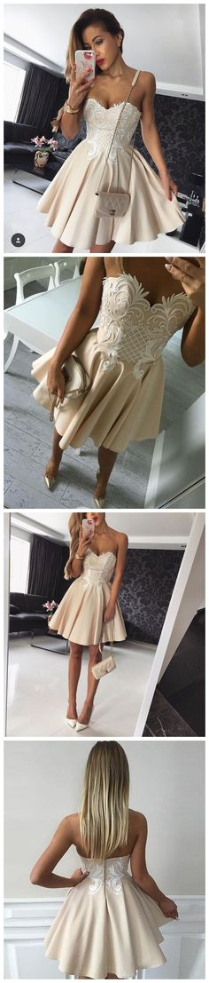 Hot Sale Charming Homecoming Dress On Sale Champagne Color A-line Sweetheart Short Mini Custom Made Prom Dress Homecoming Dresses Formal Dress Evening Gowns On Sale SKY882