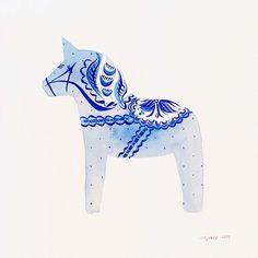 dala horse. Melinda Josie,watercolour