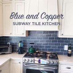 Blue and Copper Subway Tile Kitchen is part of home Kitchen Subway Tiles This unique kitchen uses bold blues with exciting accents to create a cozy cottage look This homeowner uses our Su - Blue Kitchen Island, Blue Kitchen Cabinets, Kitchen Cabinet Remodel, Kitchen Units, Blue Tile Backsplash Kitchen, Subway Tile Kitchen, Kitchen Countertops, Backsplash Ideas, Cobalt Blue Kitchens