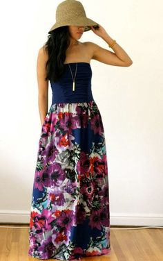 Strapless Tube Maxi Dress | Navy Floral Chiffon Maxi Dress Strapless Tube Top by Kulayan, $150.00
