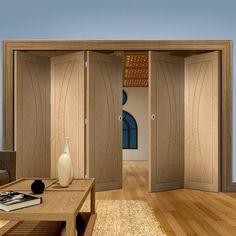 Thrufold Salerno Oak Flush Panel 3+2 Folding Door - Lifestyle Image.    #oakfoldingdoors #foldingdoors