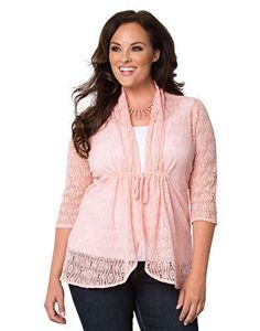 Here is a plus sized pink Bohemian Lace Crochet Bellini top tie front light cardigan for you from Kiyonna! #sponsored